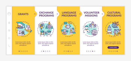 Worldwide exchange onboarding vector template. Education grant. Volunteer mission. Transfer student. Responsive mobile website with icons. Webpage walkthrough step screens. RGB color concept