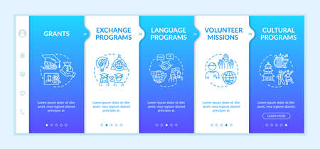 International exchange onboarding vector template. Education abroad. Volunteer mission. Transfer student. Responsive mobile website with icons. Webpage walkthrough step screens. RGB color concept
