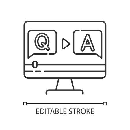 Question and answer video pixel perfect linear icon. Journalist interview footage. Thin line customizable illustration. Contour symbol. Vector isolated outline drawing. Editable stroke