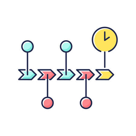 Chronology RGB color icon. Scientific field of study, history research, school subject. Events order, roadmap presentation. Timeline Isolated vector illustration Vettoriali