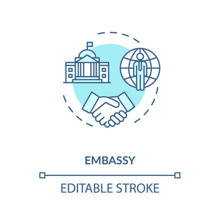 Embassy concept icon. Diplomatic mission idea thin line illustration. International affairs. Foreign countries partnership. Vector isolated outline RGB color drawing. Editable stroke Ilustracja