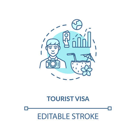Tourist visa concept icon. Abroad vacation. Traveller document application. Summer holiday planning idea thin line illustration. Vector isolated outline RGB color drawing. Editable stroke Illustration