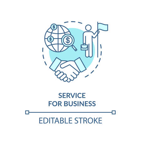 Service for business concept icon. International partnership idea thin line illustration. Company globalization. Businessmen agreement. Vector isolated outline RGB color drawing. Editable stroke Ilustracja