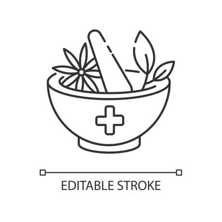 Ayurveda pixel perfect linear icon. Ayurvedic treatment. Alternative medicine. Indian health care. Thin line customizable illustration. Contour symbol. Vector isolated outline drawing. Editable stroke Illustration