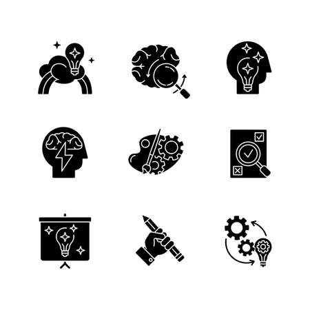 Creative mind workflow black glyph icons set on white space. Inspiration for project development. Business presentation of smart solution. Silhouette symbols. Vector isolated illustration Vecteurs
