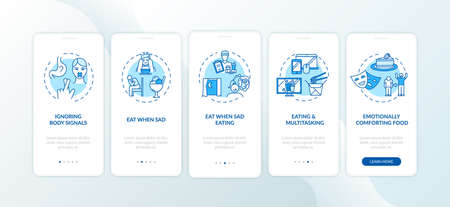 Unhealthy eating habits onboarding mobile app page screen with concepts. Disorder, ignoring body signals walkthrough 5 steps graphic instructions. UI vector template with RGB color illustrations Çizim
