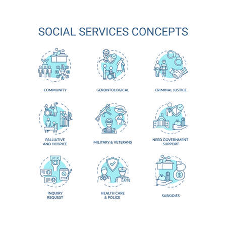Social services turquoise concept icons set. Criminal justice. People support organizations idea thin line RGB color illustrations. Vector isolated outline drawings. Editable stroke