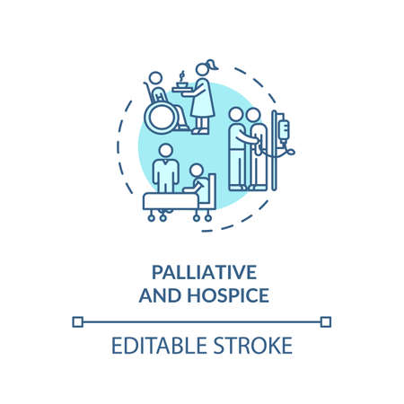 Palliative and hospice concept icon. Patient with chronic disease caregiving service idea thin line illustration. Social work. Vector isolated outline RGB color drawing. Editable stroke Vecteurs