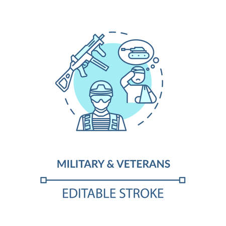 Military and veterans social service concept icon. Post traumatic stress disorder. War combats thin line illustration. Vector isolated outline RGB color drawing. Editable stroke Vektorové ilustrace
