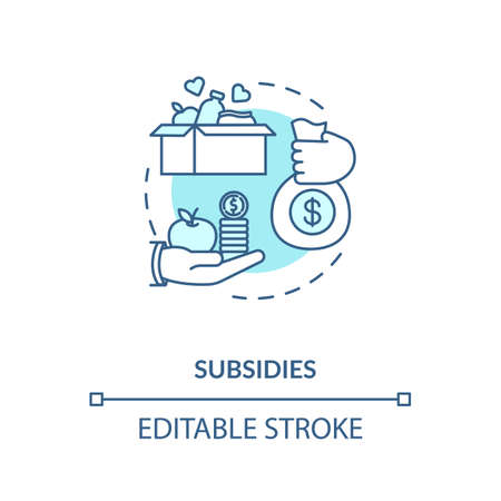 Subsidies turquoise concept icon. Government incentive. Financial support thin line illustration. Social welfare. Money and food donation. Vector isolated outline RGB color drawing. Editable stroke