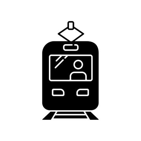 Tram black glyph icon. Rapid transit. Commuter on train stop. Fast transportation. Urban public transport. City road infrastructure. Silhouette symbol on white space. Vector isolated illustration Stock Illustratie