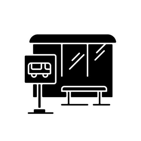 Bus stop black glyph icon. Wait for public transport. Urban commuter transit. City infrastructure. Road sign near sidewalk. Silhouette symbol on white space. Vector isolated illustration