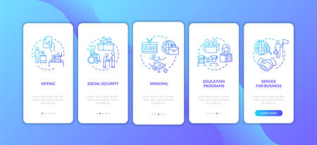 Human protection onboarding mobile app page screen with concepts. Business and education. Embassy services walkthrough 5 steps graphic instructions. UI vector template with RGB color illustrations