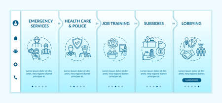 Public service onboarding vector template. Health care, emergency service. Government support. Responsive mobile website with icons. Webpage walkthrough step screens. RGB color concept