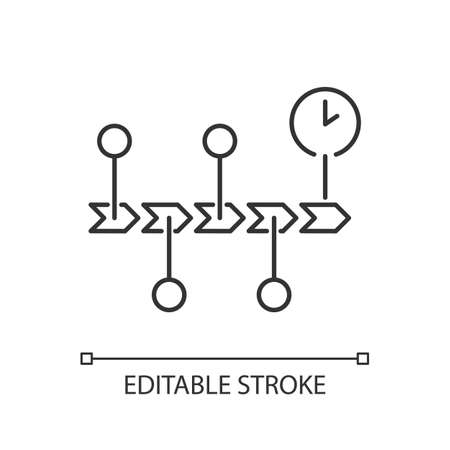 Chronology pixel perfect linear icon. Scientific field of study, history, school subject thin line customizable illustration. Contour symbol. Timeline vector isolated outline drawing. Editable stroke