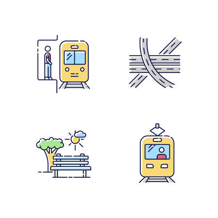 City transportation RGB color icons set. Subway station. Highway multi level junction. Public train. Commuter for passenger. Open space. Urban park area. Isolated vector illustrations