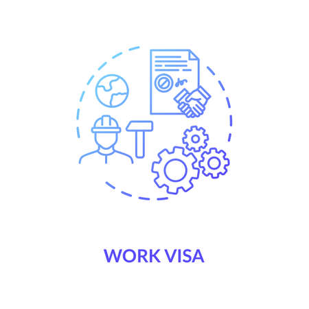 Work visa application concept icon. Foreign country legal migration. Temporary worker employment idea thin line illustration. Vector isolated outline RGB color drawing Stock Illustratie