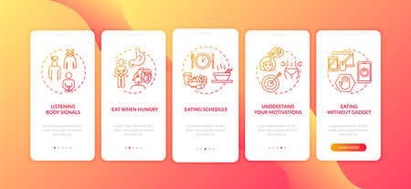 Listening body signals onboarding mobile app page screen with concepts. Eating without gadgets and schedule walkthrough 5 steps graphic instructions. UI vector template with RGB color illustrations Çizim