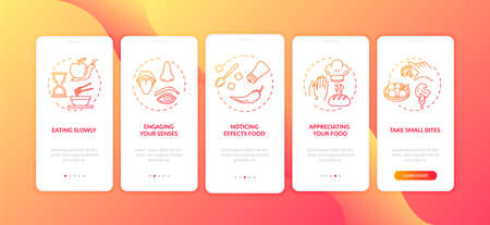 Nutrition mindfulness onboarding mobile app page screen with concepts. Appreciating food, eating slowly walkthrough 5 steps graphic instructions. UI vector template with RGB color illustrations Illustration