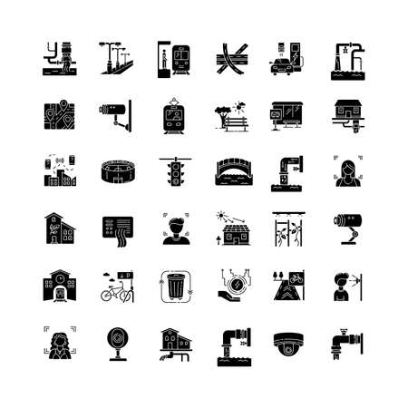 City infrastructure black glyph icons set on white space. Traffic control. Pipeline for resource. Electricity and water supply. Urban utility pipe. Silhouette symbols. Vector isolated illustration