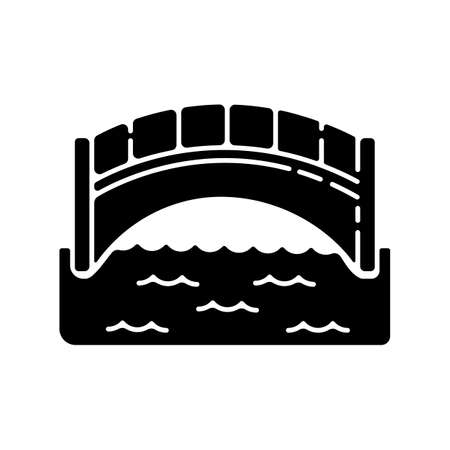 Bridge black glyph icon. Engineer structure for walk. Concrete passage on pillar. Elevated road for transport transit. Silhouette symbol on white space. Vector isolated illustration