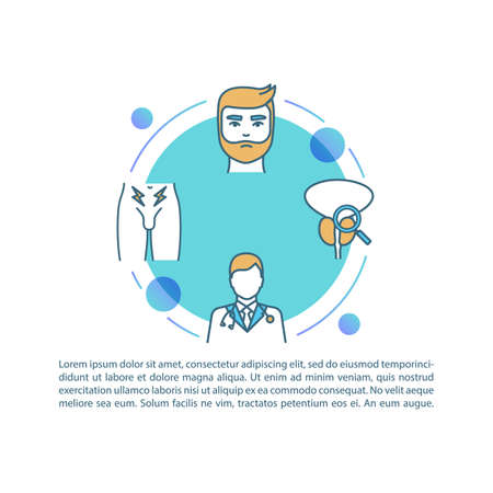 Prostatitis treatment concept icon with text. Medical assistance with male healthcare problems. PPT page vector template. Urology brochure, magazine, booklet design element with linear illustrations Stok Fotoğraf - 148170597