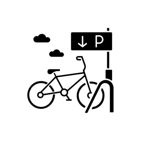 Bicycle parking rack black glyph icon. Ecological transportation. Corporate parking lot with road sign. Navigation pointer for bike. Silhouette symbol on white space. Vector isolated illustration