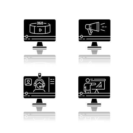 Internet video drop shadow black glyph icons set. Online lesson watching. Web conference. 360 degree view footage. TV commercial. Isolated vector illustrations on white space Vektorové ilustrace