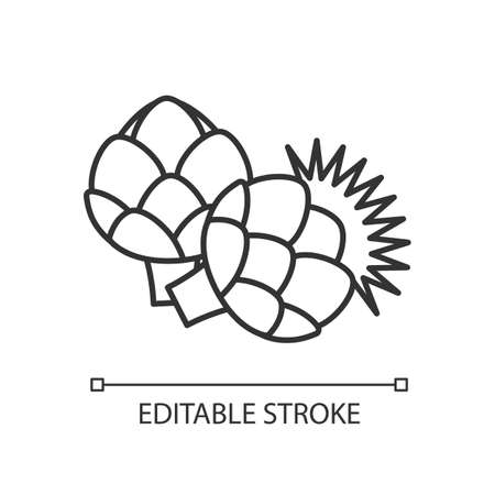 Artichoke pixel perfect linear icon. Fresh vegetable to cook nutrient recipe. Raw vegetable. Thin line customizable illustration. Contour symbol. Vector isolated outline drawing. Editable stroke