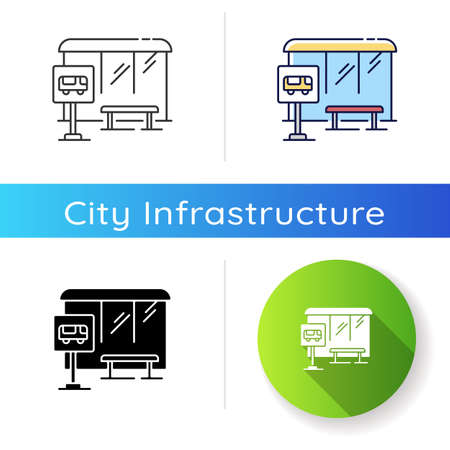 Bus stop icon. Wait for public transport. Urban commuter transit. City infrastructure. Road sign near sidewalk. School bus signage. Linear black and RGB color styles. Isolated vector illustrations