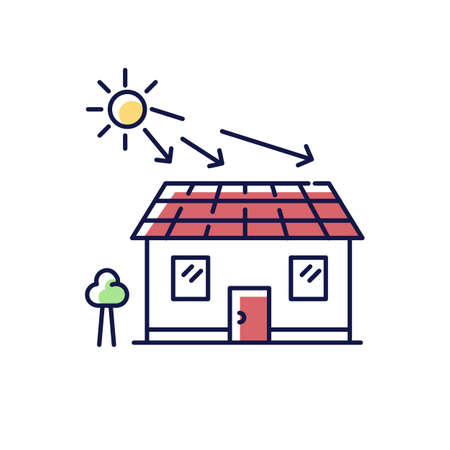 Solar batteries RGB color icon. Ecological power generation for home. Electricity supply. Install rooftop batteries. Eco friendly energy production in building. Isolated vector illustration Vetores