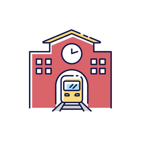 Railway station RGB color icon. Public transportation platform. Express commuter departure. Urban infrastructure. Arrival to city subway terminal. Fast transit. Isolated vector illustration