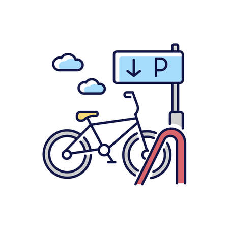 Bicycle parking rack RGB color icon. Ecological urban transportation. Corporate parking lot with road sign. Navigation pointer for bike. City transit means. Isolated vector illustration