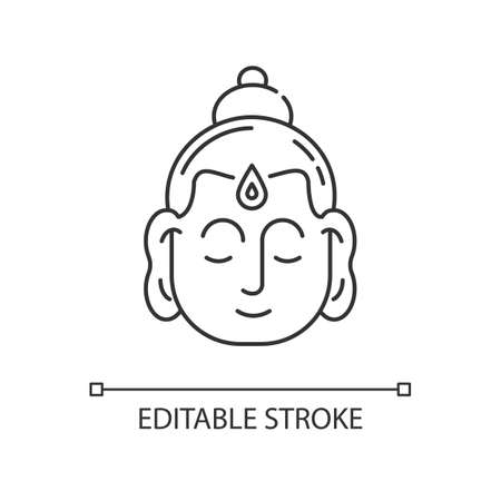 Gautama Buddha pixel perfect linear icon. Indian philosopher. Religious leader of Ancient India. Thin line customizable illustration. Contour symbol. Vector isolated outline drawing. Editable stroke