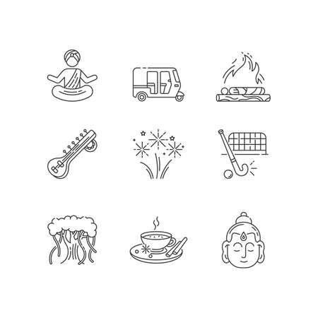 Indian customs pixel perfect linear icons set. Sitar instrument. Yoga. Hindu funeral. Banyan tree. Customizable thin line contour symbols. Isolated vector outline illustrations. Editable stroke