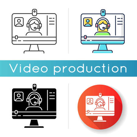 Webinar icon. Internet video. Blogger streaming. Digital content. Online courses watching. Distance learning lesson. Linear black and RGB color styles. Isolated vector illustrations