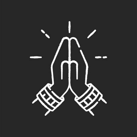 Namaste chalk white icon on black background. Hindu greeting. Hands pressed together. Respectful salutation. Anjali Mudra. Praying hands. Indian religion. Asian gesture. Isolated vector chalkboard Illustration