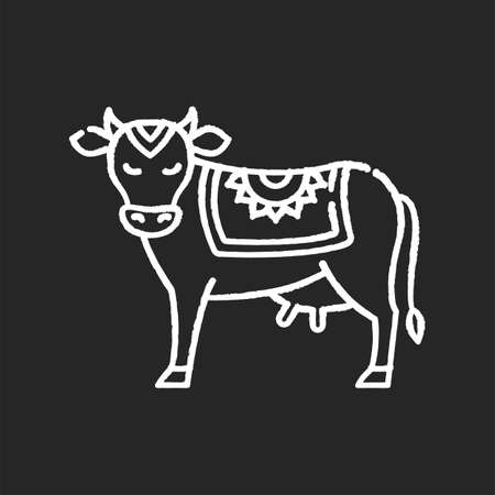 Holy cow chalk white icon on black background. Sacred animal. Religious symbol of India. Indian culture. Symbol of earth. Spiritual values of Hindus. Dairy industry. Isolated vector chalkboard