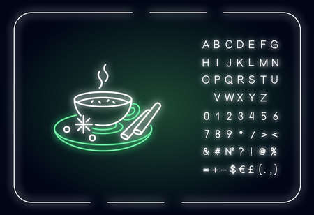 Masala chai neon light icon. Indian tea with spices and herbs. Traditional drink. Hot beverage. Outer glowing effect. Sign with alphabet, numbers and symbols. Vector isolated RGB color illustration Illustration