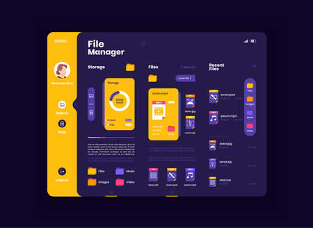 File organizer tablet interface vector template. Mobile app page night mode design layout. Gadget information screen. Flat UI for application. Memory capacity and files list on portable device display