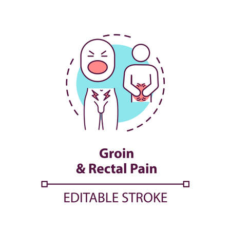 Groin and rectal pain concept icon. Common prostatitis symptoms, mens healthcare problems idea thin line illustration. Male diseases signs. Vector isolated outline RGB color drawing. Editable stroke