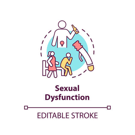 Sexual dysfunction concept icon. Male health problem, medical issue. Decreased libido, erectile dysfunction idea thin line illustration. Vector isolated outline RGB color drawing. Editable stroke