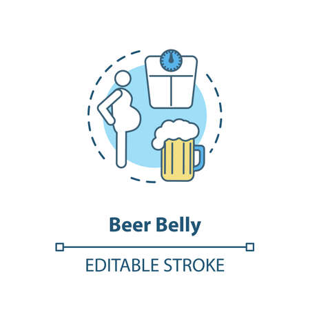 Beer belly concept icon. Common mens health issue, unhealthy lifestyle idea thin line illustration. Excessive weight problem, bad figure. Vector isolated outline RGB color drawing. Editable stroke Иллюстрация