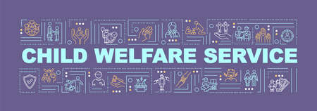 Child protection word concepts banner. Welfare of youth. Support for kid. Infographics with linear icons on purple background. Isolated typography. Vector outline RGB color illustration