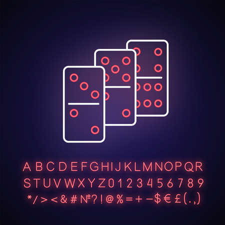 Dominoes neon light icon. Outer glowing effect. Traditional tabletop game, gambling activity sign with alphabet, numbers and symbols. Domino pieces vector isolated RGB color illustration