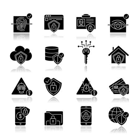 Internet security system drop shadow black glyph icons set. Computer protection. Cybersecurity technology. Eye and fingerprint scanner. Isolated vector illustrations on white space