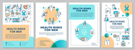 Health risks for men brochure template. Common male healthcare problems flyer, booklet, leaflet print, cover design with linear icons. Vector layouts for magazines, annual reports, advertising posters