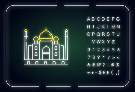 Taj Mahal neon light icon. White marble mausoleum. Historical monument. Mughal architecture. Outer glowing effect. Sign with alphabet, numbers and symbols. Vector isolated RGB color illustration