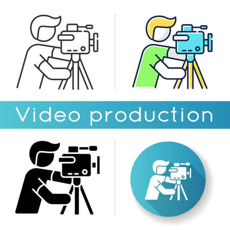 Cameraman icon. Filmmaking and videography. Cinematography industry. Professional camera operator. Movie shooting. Linear black and RGB color styles. Isolated vector illustrations