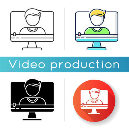 Talking head video icon. Documentary film and video blog content. Online interview. Video chat conversation. Linear black and RGB color styles. Isolated vector illustrations